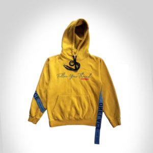 MUSTARD COTTON ONELACE THREAD HOODED TOP