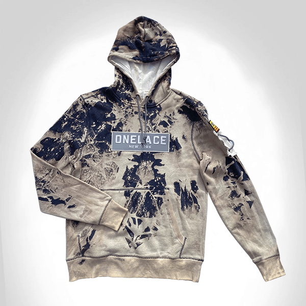 WHITE WASH COTTON ONELACE HOODED TOP