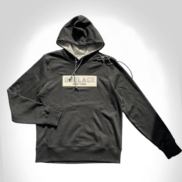 DARK SMOKE COTTON ONELACE HOODED TOP